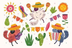 set van chinchilla's in sombrero's die muziek spelen vector