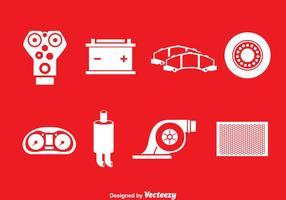 Auto engien onderdelen witte pictogrammen