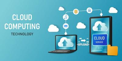 concept cloud computing-technologie sjabloon vector