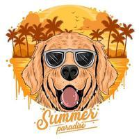 gouden honden die een zonnebril dragen vector