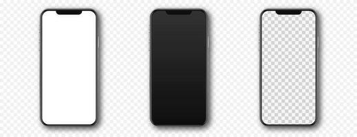 set van smartphones, mobiele telefoons of mobiele telefoons vector