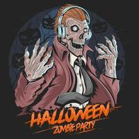 schedel zombie muziekfeest