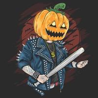 Halloween-pompoen die een honkbalknuppel houdt