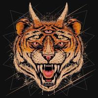 tijgerkop grijnsde