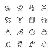 onderwijs, school en leren lijn pictogramserie.