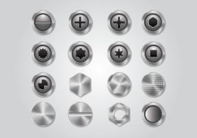 Een set metalen nagelkop vector