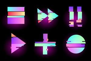 set van abstracte neon glitter effect retro knoppen vector