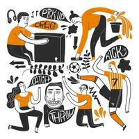 zwart en oranje mensen in actie hand tekenen vector