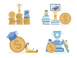 student leren investeren in online cursussen vector