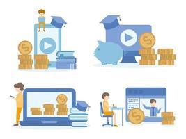 concept van investeringseducatie voor studeren, e-learning vector
