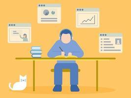 man zit aan bureau leren in online cursus vector