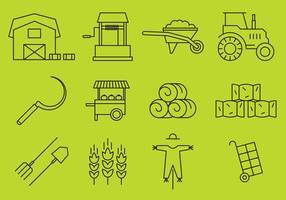 Boerderij lijn iconen