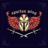 Spartaanse helm met gekruiste zwaarden en vleugels vector
