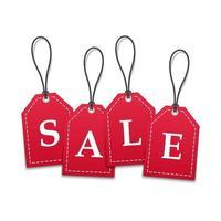 3D-rode papier prijskaartjes verkoop korting promotie vector