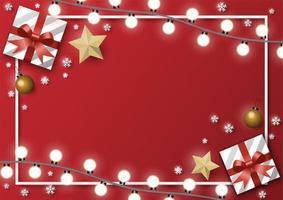 rechthoek kerstkaart met geschenken en verlichting vector