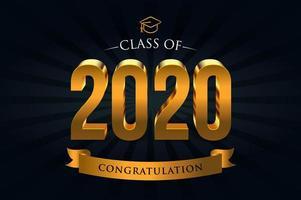 klasse van 2020 gouden letters vector