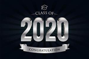 klasse van 2020 zilveren letters vector