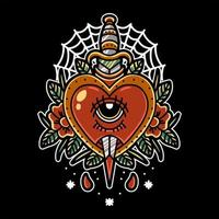 hart en dolk tattoo ontwerp
