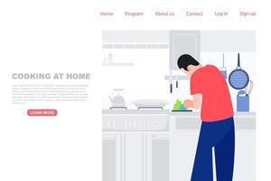 man maaltijd in keuken bereiden