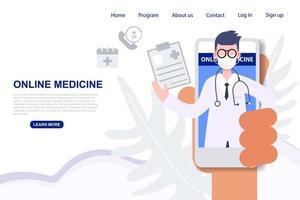 hand met telefoon met mannelijke arts voor online recept vector