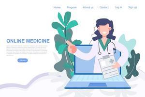 vrouwelijke arts in laptop voor online recept bestellen vector