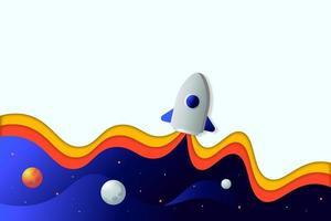 raket illustratie papier gesneden stijl vector