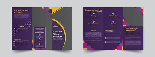 heldere paarse driebladige bedrijfsbrochuremalplaatje vector
