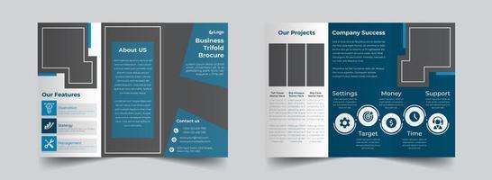 blauwe zakelijke driebladige brochure ontwerpsjabloon vector