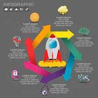 corporate organigram kleurrijke pijlen en raket vector