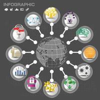 wereldkaart met circulaire infographic met pictogrammen