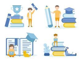 man blij met afstuderen en student huiswerk vector