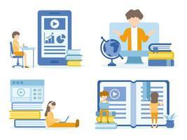 onderwijs voor training, studeren, e-learning en online cursus vector