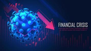 wereldwijde financiële crisis van een pandemisch virusconcept