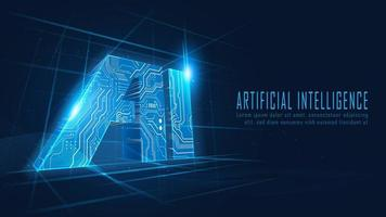3d ai circuit in futuristisch concept