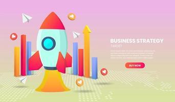 bedrijfsstrategieconcept met raket en grafiek vector