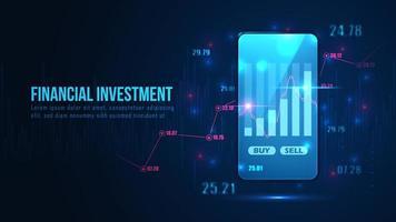 financieel investeringsontwerp met handelsgrafiek op telefoon