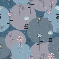 abstract blauw grijs en roze naadloos bloemen en cirkelpatroon