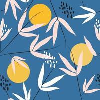 bloemen en maan gewaagd naadloos patroon