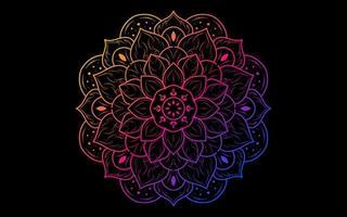 kleurrijke verloop mandala op zwart vector