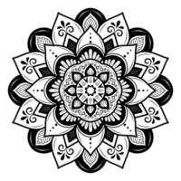 ronde bloesem zwart-witte mandala vector