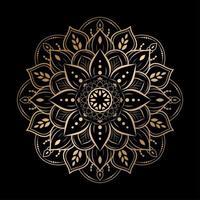 luxe afgeronde bloemen mandala ontwerp op zwart vector