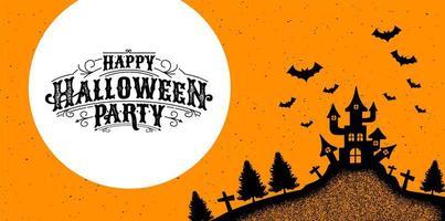 grunge poster met spookhuis en halloween kalligrafie