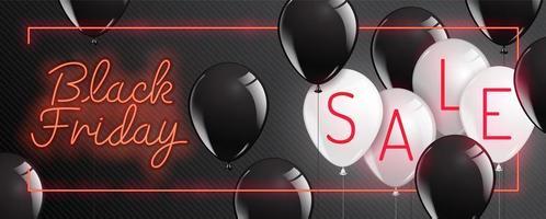 neon zwarte vrijdag banner met glanzende ballonnen vector
