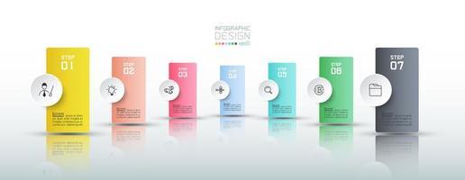 kleurrijke verticale banner infographic met reflectie