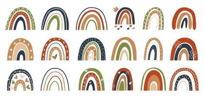 Scandinavische stijl handgetekende regenbogen bruin, rood, groen, vector