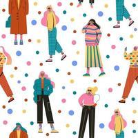 stijlvolle vrouwen gekleed in trendy kleding naadloos patroon