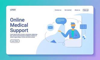 online medische ondersteuning webpagina sjabloon vector