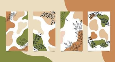 social media set met handgeschilderde vormen en bladeren