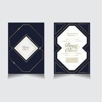 elegante blauwe en gouden bruiloft uitnodiging set vector