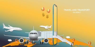 het boeken van reizen op mobiel concept